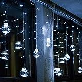 BLOOMWIN Lichtervorhang 3 * 0.65M LED Kugel Kaltweiß, 120LED Girland Fairy Curtain Light Weihnachtsdeko Fensterdeko Dekobeleuchtung für Innen, Wand, Fenster, Tür [Energieklasse A]