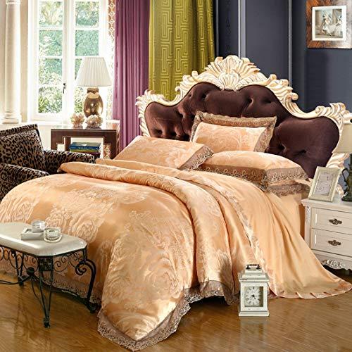 Olprkgdg Einfache Neue modale Satin Jacquard Baumwollspitze Bettwäsche Set (Color : Beige, Size : Queen) -