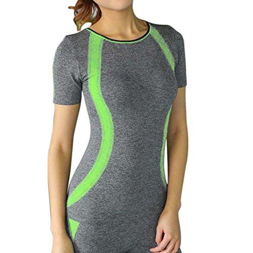 BOBORA Donna Quick-Dry Sport t-shirt Fitness corsa palestra manica corta camicia Casual Top