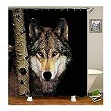 Amody Duschvorhang Stoff Waschbar Wolf Duschvorhang Antischimmel Antibakteriell 180x200CM Vorhänge Bad Fenster