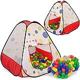 Tente de jeu pour enfants TIANA | Incl. 200 balles multicolores | léger à transporter | Idéal pour lŽintérieur et l'extérieur | Incl. pratique étui pour le garder / transporter | Maison de Jardin
