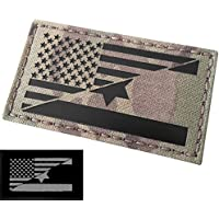 Multicam Infrared IR USA Israel Friendship Flag Laser Cut 2x3.5 Reflective IFF Tactical Morale Hook&Loop Patch