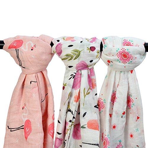 """Bambú muselina mantas - 3 unidades \""""Flores y flamencos impresión\"""" bambú algodón bebé manta grande, para niñas, suave bebé Swaddle Wrap muselina manta"""