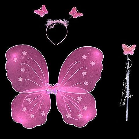 Kasit 3Pc gesetztes reizendes Partei-Kostüm-Prinzessin-Mädchen-Kind-Schmetterlings-Flügel-Stab-Stirnband-feenhaftes Weihnachtskostüm -
