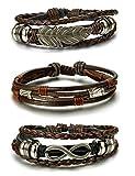 BESTEEL 3PCS Bracelet Cuir pour Homme Femme Tressé Corde Bracelet Infinité Plume...