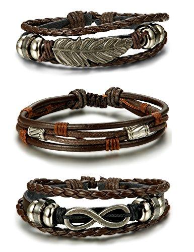 BE STEEL Schmuck 3 Stücke Geflochten Leder Armbänder für Herren und Damen Armband Freundschaft Infinity Feder Länge Elastisch Braun