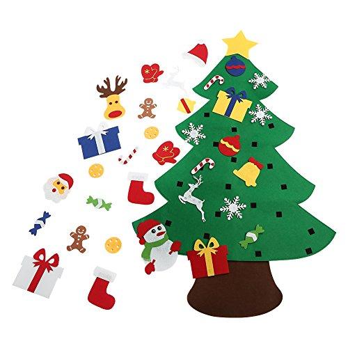 ASSIS 3FT Bricolaje árbol de Navidad de Fieltro con Adornos para Niños Regalos de Navidad Año Nuevo Decoración de La Pared de La Puerta decoraciones