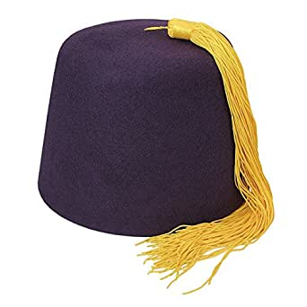 Village Hats Purple Fez with Gold Tassel SMALL