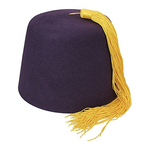 Village Hats Village Hats Dunkelviolett Fez Hut mit Goldener Troddel - S