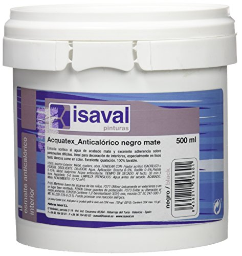 Isaval - Pintura anticalórica, color negro mate, 500 ml
