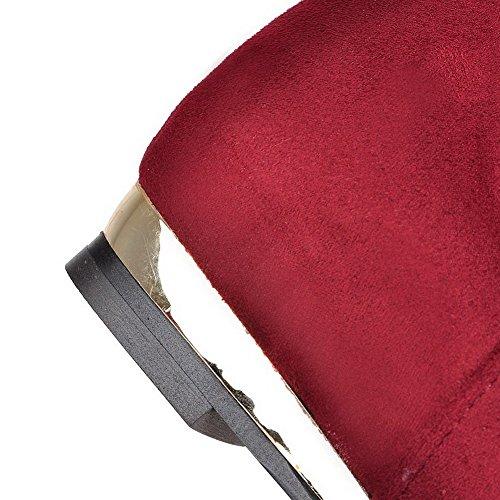 VogueZone009 Donna Tirare Tacco Medio Chiodato Bassa Altezza Stivali con Catene Rosso