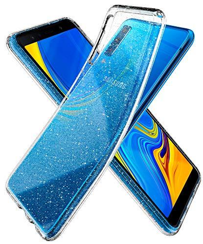 Spigen [Liquid Crystal Glitter Kompatibel Mit Samsung Galaxy A7 2018 Hülle, Glitzer Design Transparent TPU Silikon Handyhülle Durchsichtige Schutzhülle Flex Case - Crystal Quartz Glitter-crystal Design