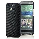 Saxonia® HTC One M8 (2014) Hülle Case Schutzhülle Cover Slim Design in Carbon-Optik Schwarz