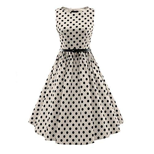 LUOUSE Damen 50s Hepburn Stil Swing Party Rockabilly (50er Kleidung Herren Jahre)