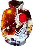 Kfacvy My Hero Academia Hoodie Boku No Hero Academia Todoroki Shoto Cosplay Costume,Color Red,X-Large