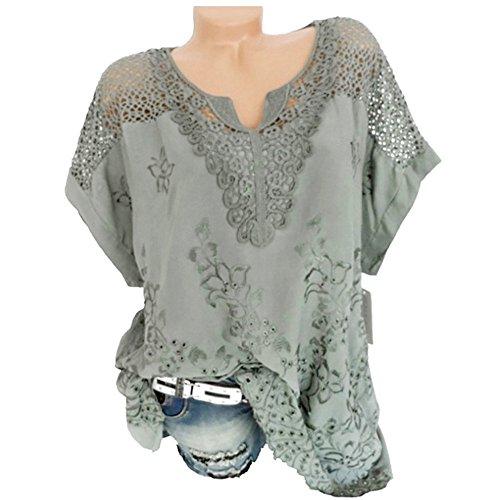 Hulky vendita di liquidazione donne boho manica corta top-ladies hollow pizzo scollo a v tinta unita camicia top camicetta tee t-shirt per le donne(verde,xxxxx-large)