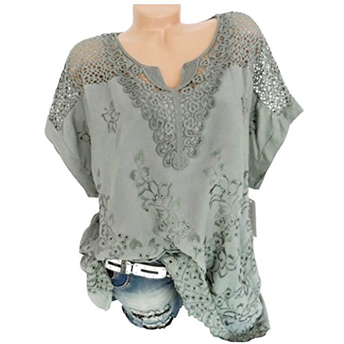 Ears Frauen Sommer Bluse V-Ausschnitt Tunika Freizeit Minikleid Yoga Oberteil Dehnbares T-Stück Spitze Mode Kapuzenpullover Oansatz Kurzarm aushöhlen solide lässige Bluse Top T-Shirt