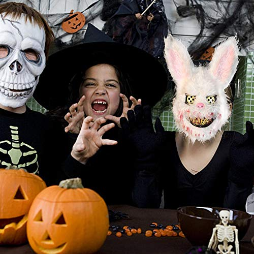 Scary Kaninchen Kostüm Kopf - Ganmaov Tierkopf Scary Maske Halloween Darstellung Requisiten Maske Kaninchen Form Bloody Killer Für Kostümfest Cosplay Kostüm Festival Für Kinder Erwachsene Incredible
