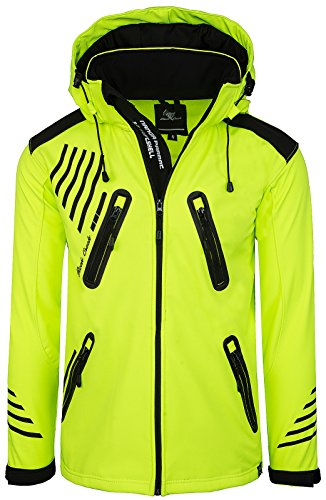Rock Creek Herren Softshell Jacke Outdoorjacke Windbreaker Übergangs Jacke H-140 [Neonyellow S] - 2
