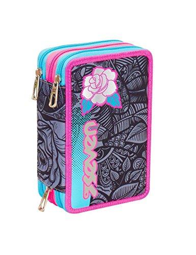 Astuccio 3 zip scuola completo seven roses girl bambina colori azzurro e rosa