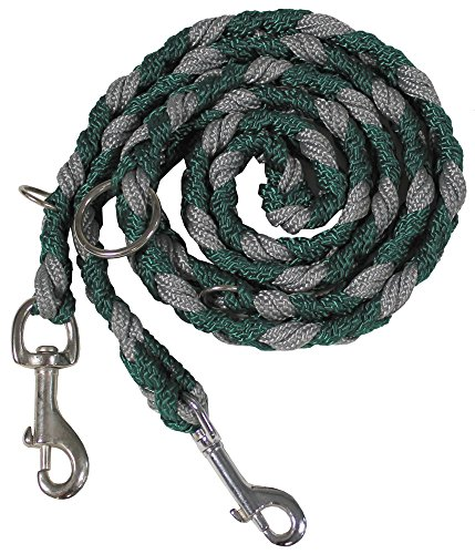 MFH geflochtene Hundeleine 1,95m lang Haustier Leine Führleine Flechtleine Seil verschiedene Farben (Grün/Grau)