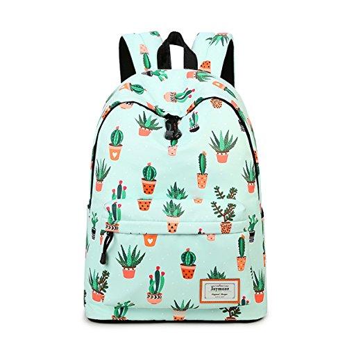 Joymoze Modischer Freizeitrucksack für Mädchen Jugendliche Schulrucksack Frauen Aufdruck Rucksack Geldbeutel Kaktus 851