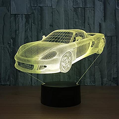 IAGM LED 3D Illusion Lampe Forme de Voiture de Sport Lumières de Table Visuelles Colorées Décoration de Maison Intelligente