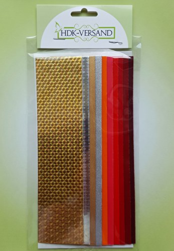 10 Wachsplatten Bunt Mix Grösse ca. 200x50x0,5mm Bunt sortiert , Verzierwachs, Wachs (Rot Gold Mix)