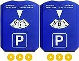 M&H-24 Europa Parkscheibe/Parkuhr für Auto - mit 3 Einkaufswagenchips Eiskratzer Kunstoff Blau (2 Stück)