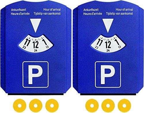 M&H-24 Parkscheibe Parkuhr Auto mit 3 Einkaufswagen-Chips und Eiskratzer Kunststoff Blau (4 Stück)