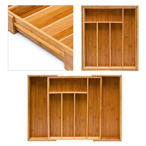 Relaxdays Besteckkasten aus Bambus H x B x T: ca. 33,5 x 29 – 45 x 5 cm ausziehbarer Besteckeinsatz als Küchenorganizer und Schubladeneinsatz große Besteckeinlage mit 5 bis 7 Fächern Organizer aus Holz, natur - 5