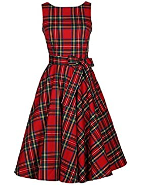 Donne d'epoca senza maniche Plaid retrò Hepburn Swing Party Dress Cocktail con Bowknot