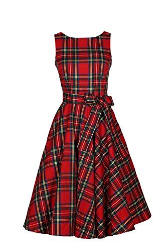 ellosen karierten Retro Hepburn Swing Party Cocktail-Kleid mit Bowknot Red M (Karierten Anzug)