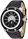 Glam Rock Unisex Quartz Watch With Black Dial Analogue Display And Leather Strap 0.96.2159