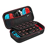 Keten Carry Case for Nintendo Switch, Protective Portable Travel Pouch Shell with 19 Games Cartridge Holders for Switch Console, Joy-Con and Other Small Accessories (Black)