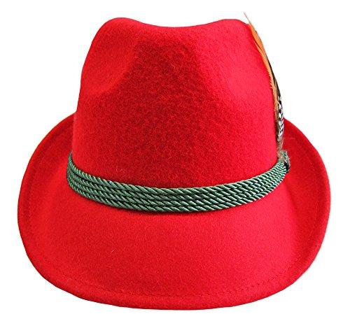 Damen Trachtenhut mit Feder Rot Gr. 56 - 2