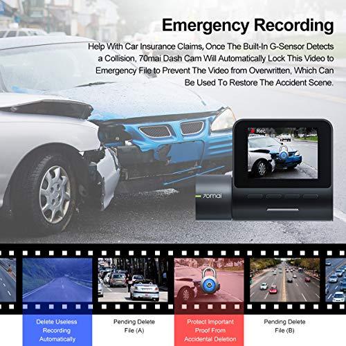 G-Sensor Emergency Recording Dash Cam 70mai FHD 1944P Car Camera DVR with Night Vison and Motion Detection for Cars Voice Control Parking Monitor APP WIFI Control Dash Camera WDR