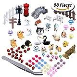 Paxcoo 87 Pcs Miniatura Adornos kit Set con 1Pcs Pinzas Para el Bricolaje Hada del Jardín Decoración Dollhouse
