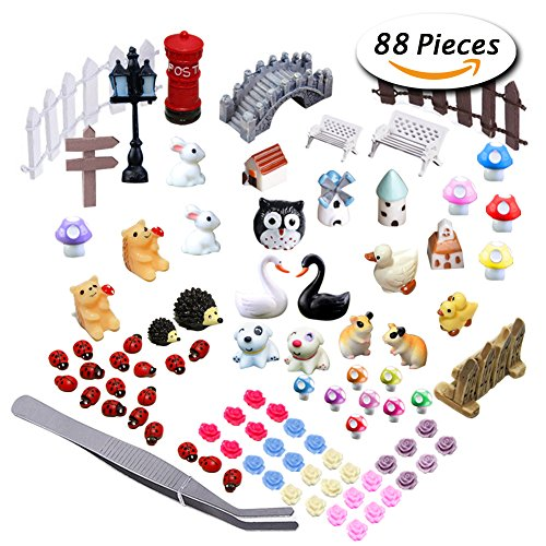 Paxcoo 87 Pezzi Ornamenti in Miniatura Kit Set con 1 Pezzi Pinzette per DIY Fairy Garden Dollhouse Décor