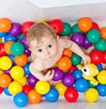 #6: MVJ® Colourful Pool Balls/Pit Balls/Ocean Balls Genuine Quality Set of 50 Balls - 8 cm Diameter Similar Size of Cricket Ball (Free Shipping)
