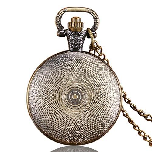 Batman Fluo Blue Logo Antik Bronze Effekt Retro/Vintage Case Herren Quarz-Taschenuhr Halskette–auf 81,3cm Zoll/80cm Kette - 6