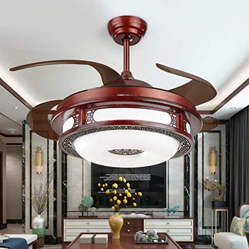 Ventilador de techo con luz Luz de ventilador de techo de madera de 42 pulgadas / 4 aspas de ventilador...