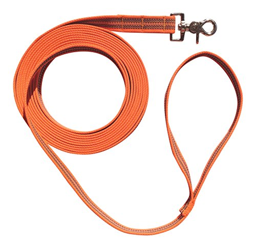 DOGS and MORE - Gummierte Schleppleine mit Handschlaufe => 5 Meter (Orange)