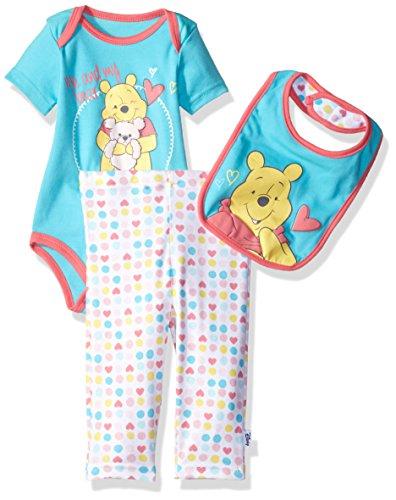 Disney Baby Girls' Winnie the Pooh 3-Piece Bodysuit, Pant and Bib Set, Capri, 6/9 (Bib Capri)