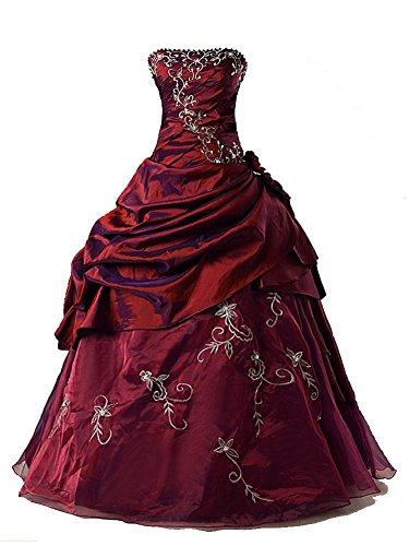 Burgund Quinceanera Kleid (Vantexi Damen Formales Taft Abschlussball Kleid Ballkleid Quinceanera Kleider Burgund Größe 38)