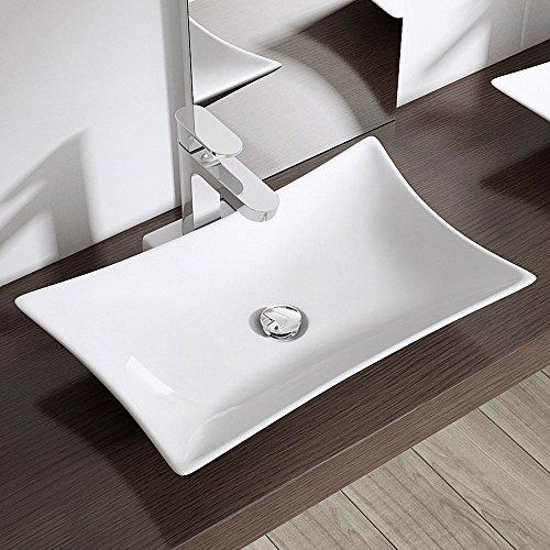 BTH: 56,5x37,5x11 cm Design Aufsatzwaschbecken Brüssel891, aus Keramik, Waschbecken, Waschtisch, Waschplatz, Waschschale