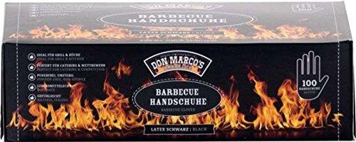 DON MARCO'S BARBECUE BBQ Handschuhe, Latex, Schwarz, Größe L, 1er Box (100 Stck) Schwarzen Handschuhen