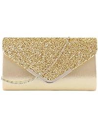 74deec5ca OneMoreT - Bolso de mano de plata con purpurina para mujer, dorado