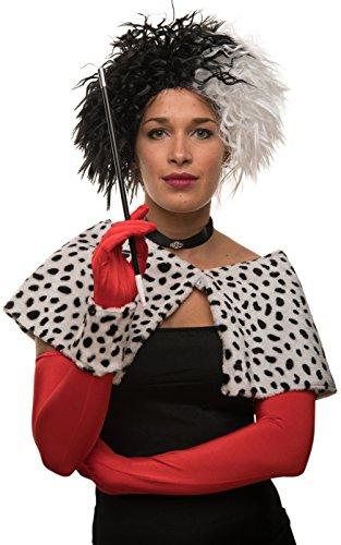 warz / weiß für Karneval / Fasching (Cruella Kostüm Perücke)