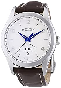 Armand Nicolet Men's Automatic Watch with Silver Dial Analogue Display and Brown Leather Strap 9740A-AG-P974MR2
